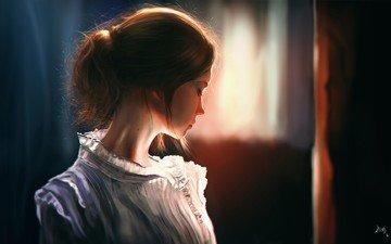 рисунок, девушки, красотка, блузка