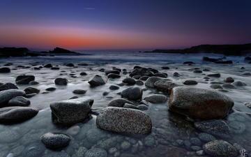 камни, берег, море, рассвет, сумерки