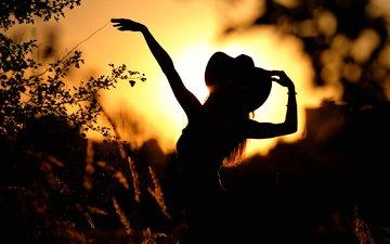 закат, девушка, девушки, танец, силуэт, руки, шляпа, мария, кантри