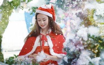 новый год, девушки, костюм, праздник, рождество, азиатка, снегурочка