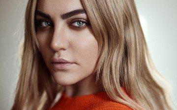 девушка, фон, блондинка, портрет, взгляд, модель, волосы, лицо, розовая помада