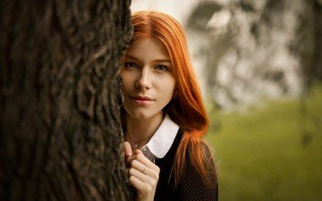 дерево, девушка, портрет, лицо, рыжеволосая, анастасия жилина