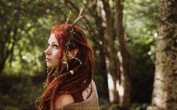 девушка, дреды, рога, голубые глаза, длинные волосы, рыжеволосая