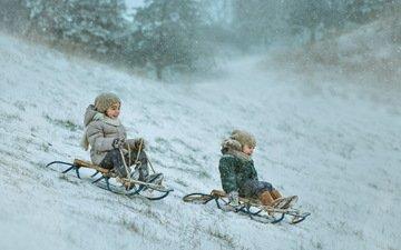 снег, зима, дети, радость, сани, движение, двое