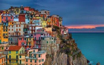 пейзаж, город, италия, бухта, средиземное море