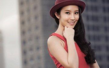 улыбка, портрет, девушки, волосы, лицо, азиатка, модел, xuân thảo