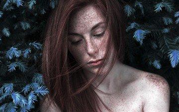 девушка, портрет, модель, лицо, веснушки, рыжеволосая, голые плечи, лицопортрет