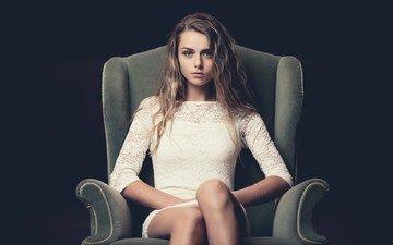 девушка, портрет, кресло, белое платье, коричневые волосы, анастасия джепсен, anastasiya jepsen