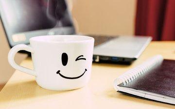улыбка, кофе, кружка, смайл