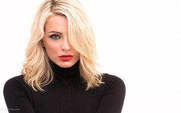 girl, blonde, portrait, face, white background, red lipstick, kenneth svendlund