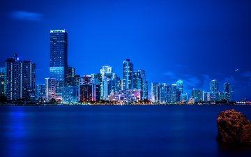 ночь, панорама, город, небоскребы, сша, флорида, майами