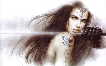девушка, воин, воительница, меч, взгляд, фэнтези, тату, татуировка, перчатки, луис ройо