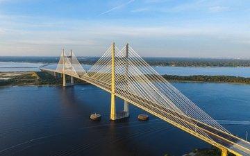 река, мост, залив, сша, флорида, гавань, вантовый мост, джэксонвилл