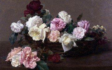 цветы, картина, натюрморт, автор, a basket of roses, произведение искусства, анри фантен-латур