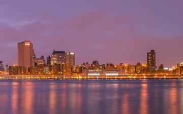 ночь, панорама, мост, город, сша, нью-йорк, северная америка, манхэттен, бруклин бридж, манхетн