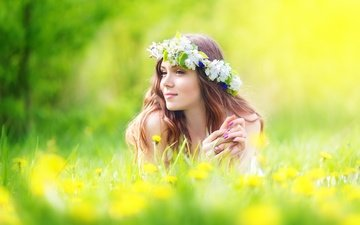 flowers, girl, smile, summer, meadow, dandelions, wreath, brown hair