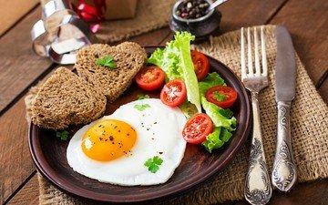 булки, хлеб, завтрак, яйца, нож, помидоры, салат, яичница, глазунья, сервировка, яицо