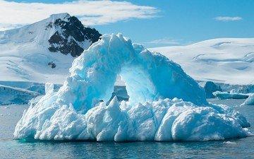 облака, горы, холмы, природа, пейзаж, море, лёд, айсберг, антарктида, снежная вершина, ледники