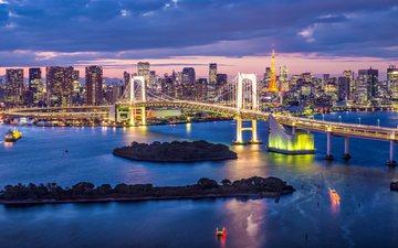 ночь, огни, мост, город, япония, небоскребы, токио, радужный мост