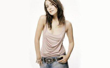 brunette, jeans, actress, necklace, strap, brown eyes, rose byrne, buckle
