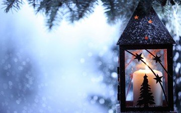 branch, snow, tree, winter, snowflakes, lantern, spruce, candle, candle holder, flashlight
