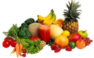 виноград, фрукты, ягоды, овощи, морковь, банан, ананас, сок, разнообразие, редис