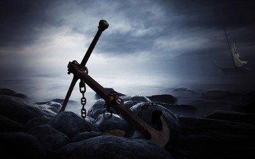 природа, камни, берег, море, корабль, якорь, старый якорь, камни на берегу