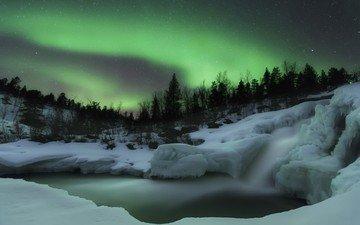 снег, лес, северное сияние, скандинавия