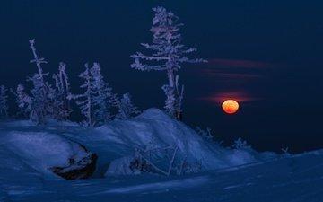 горы, снег, природа, зима, луна, южный урал, хребет