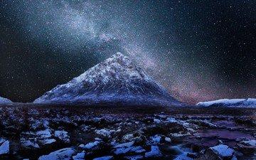 небо, горы, туманность, шотландия, высокогорье