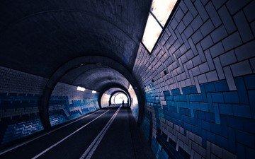 свет, дорога, огни, люди, архитектура, тоннель, пути, плитка, подземный переход, snipes