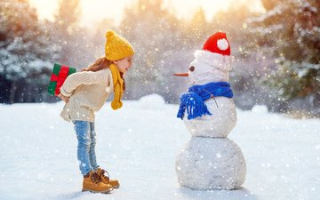 snow, new year, winter, mood, gifts, children, girl, snowman, jeans, sweater, cap, scarf, caps