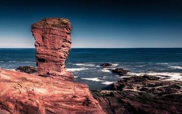 скалы, море, побережье, шотландия, ангус, seaton cliffs