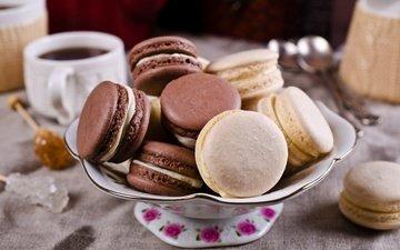 кофе, чашка, печенье, десерт, макарун, макаруны, сладенько, миндальное, крем, coffee cup