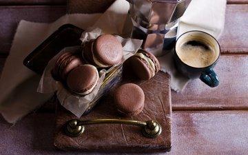 кофе, чашка, печенье, выпечка, десерт, макарун, макаруны, миндальное, крем, coffee cup