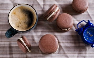 кофе, чашка, печенье, десерт, макарун, макаруны, миндальное, крем, coffee cup