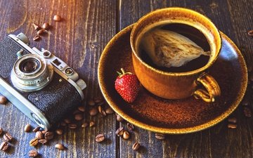 клубника, зерна, кофе, чашка, камера, аппарат