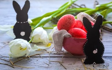 tulips, easter, holiday, flowers, eggs, spring, happy, bunny, the painted eggs