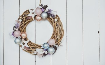 new year, decoration, christmas, wreath, wood, xmas, merry christmas