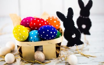 easter, holiday, eggs, spring, happy, bunny, colorful, the painted eggs