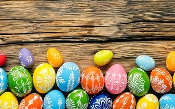 easter, holiday, wood, eggs, spring, happy, colorful, the painted eggs