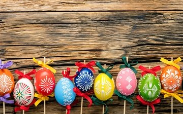 easter, holiday, tape, wood, eggs, spring, happy, colorful, the painted eggs