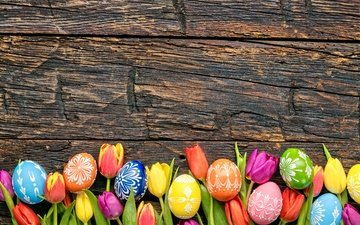 tulips, easter, holiday, wood, flowers, eggs, spring, happy, colorful, the painted eggs