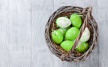 easter, basket, wood, eggs, decoration, spring, happy, the painted eggs