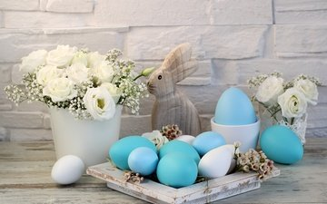 flowers, easter, holiday, eggs, decoration, white roses, spring, happy, the painted eggs