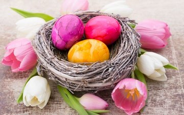 flowers, tulips, easter, basket, socket, eggs, decoration, spring, happy, bunny, the painted eggs