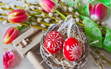 flowers, tulips, easter, basket, socket, verba, eggs, decoration, spring, happy, bunny, the painted eggs