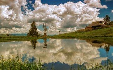 небо, облака, озеро, природа, отражения, неба, на природе, лейка, словения, велика планина, velika planina