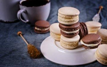 кофе, печенье, выпечка, десерт, макарун, макаруны, сладенько, миндальное, крем, coffee cup
