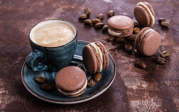 кофе, печенье, выпечка, десерт, француженка, макарун, макаруны, сладенько, миндальное, крем, coffee cup